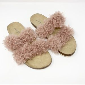 Universal Thread Pink Ember Two Band Fur Slide